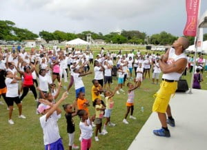 Evy Bentham conducting an exercise class immediately following the 2012 Walk for Cure.