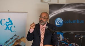 CXC Registrar Dr Didacus Jules speaking at the signing of the MOU between Columbus Communications and CXC on Thursday, September 5, 2013 at BayHouse Restaurant Antigua & Barbuda