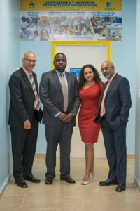 Antigua & Barbuda's Minister of State for Information and Communications Dr Edmond Mansoor, Columbus Antigua GM Jamal James, Corporate Vice President Sales and Marketing for Columbus Communications Rhea Yaw Ching and CXC Registrar Dr Didacus Jules at the GATE ICT CADET Facility in Antigua.