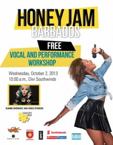 Celebrity vocal coach Elaine Overholt will be in Barbados to conduct a Vocal & Performance workshop with the artists performing at this year's Honey Jam Barbados concert.  Elaine has worked with Tina Turner, John Travolta, Queen Latifah and trained all of the actors to sing for the Oscar winning musical film Chicago. She can't wait to work with the young Barbadian talent! (CLICK FOR BIGGER)