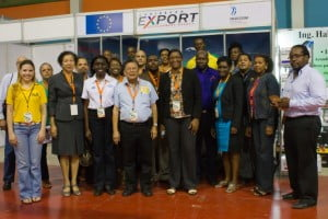 Members of the mission at Caribbean Export's stand at Expo-Cibao