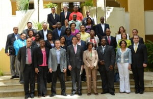 Members of the mission with representatives from the DR Government and Private sector at the DR Ministry of Foreign Affairs.