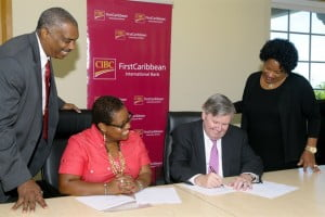 CIBC FirstCaribbean and the Caribbean Centre of Excellence of Youth Entrepreneurship have entered into a Memorandum of Understanding (MOU) to continue their successful strategic partnership. From left are David Clarke, Chairman, Barbados Youth Business Trust; Marcia Brandon, Managing Director, Caribbean Centre of Excellence for Youth Entrepreneurship (CEYE); Rik Parkhill, Chief Executive Officer, CIBC FirstCaribbean; and Debra King, Director Corporate Communications.