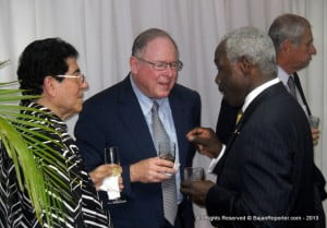 {L to R} Chefette Co-Founder Assad Haloute, Simpson Motors & SOL petroleum Magnate SirKyffin Simpson with RBC's CEO Horace Cobham... I strongly suspect they were debating which Froonzie speech is the most boring!