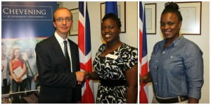 Photo collage of (from left) Colin Dick, Deputy British High Commissioner, Shena-Ann Ince and Jihan Williams