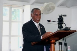 Premier of Nevis and Minister of Finance in the Nevis Island Administration Hon. Vance Amory making his presentation at a sitting of the Nevis island Assembly on September 11, 2013