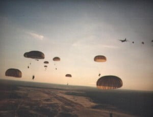 U.S. Army Rangers parachute into Grenada during Operation Urgent Fury. (DoD photo)