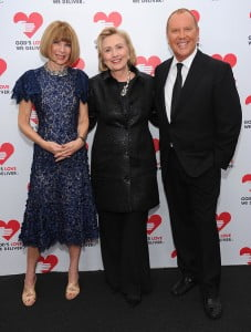 Also on October 16, designer Michael Kors and Vogue Editor-in-Chief and Condé Nast Artistic Director Anna Wintour presented the first Michael Kors Award for Outstanding Community Service to former Secretary of State Hillary Rodham Clinton at the annual God's Love We Deliver Golden Heart Awards Dinner in New York City.