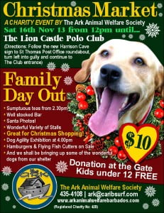 Christmas Market – A Charity Event by: The Ark Animal Welfare Society Great Family Day Out The Lion Castle Polo Club, St. Thomas Sat 16th Nov 2013 from 12 pm until...
