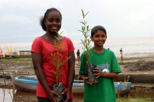 Hope beach youngsters with mangrove seedlings prior to planting