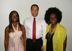 Hon. Consul Juliette Gooding, Premier the Hon. Alden McLaughlin and Marcia Weekes at the Chrissy premiere