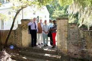 L to R Prof. Fraser, Mayor Michael Heitzler, Penny Hynam, Aubrey Padmore and Rhoda Green outside St. James Parish Church in Goose Creek