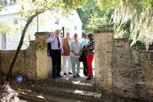 L to R Prof. Fraser, Mayor Michael Heitzler, Penny Hynam, Aubrey Padmore and Rhoda Green outside St. James Parish Church in Goose Creek