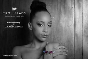 Mariah Arthur (CLICK FOR BIGGER) Colombian Emeralds International – Barbados is proud to sponsor the photo challenges of the 2013 Kolij Runway - Bedazzled Competition with the exclusive, trend-setting brand: Trollbeads.