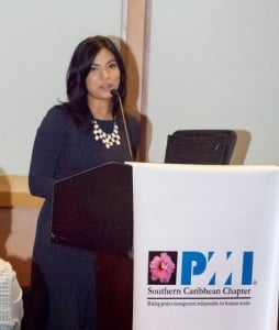 Ms. Sant-Ghuran speaks at the PMI Southern Caribbean Chapter's Excellence in Project Management Award Competition ceremony