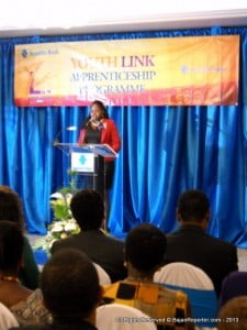 Juel Hunte the 2012 Valedictorian addresses her classmates & mentors at the Island Inn on Aquatic Gap...