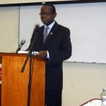 (PERSONAL FILE IMAGE) Delivering the keynote address at the opening of the 2nd Sustainable Conference in St. Eustatius this morning, Hugh Riley, the secretary general of the Caribbean Tourism Organization (CTO), said the Caribbean had a responsibility to protect and preserve its water resources.