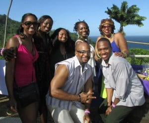 The ladies of Carnival Concierge with some of their clients at the C'est La Vie Fete, Carnival 2013