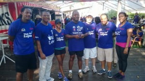 The Digicel team was all smiles after the walk on Sunday, September 29. Here, Commercial Director, Alex Tasker (second from left) poses with the rest of the team. Also pictured is Minister of International, the Honourable Donville Inniss (centre), who also took part in the walk.