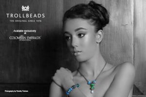 Whitney Williams (CLICK FOR BIGGER) Colombian Emeralds International – Barbados is proud to sponsor the photo challenges of the 2013 Kolij Runway - Bedazzled Competition with the exclusive, trend-setting brand: Trollbeads.