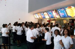 Students at Regal Camana Bay Cinemas to attend a screening of the film