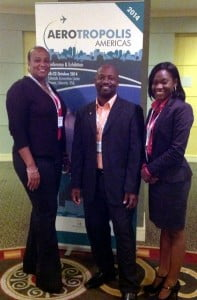 The SXM delegation at Aerotropolis Americas Conference, L-R: Michael Lake, Manager, Accounting & Reporting Department, Anastacio Baker, Quality Assurance Manager, and Kalifa Hickinson, Corporate Communications Specialist. (SXM photo)