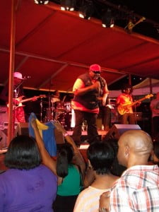 Biggie Irie as Barbados flags rep in the Caymans during the special concert