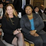 (L to R) CEO, Digicel Haiti Foundation's Sophia Stransky and Head of Projects, Rachel Pierre Champagne, enjoy the awards ceremony.