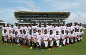 All 39 Digicel/Chelsea Academy participants on the first day of training at the Kensington Oval in Barbados