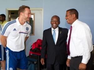 Senior International Football Development Officer of the Chelsea Football Club Foundation, David Monk, shares a light moment with the Minister of Family, Youth, Sports and Culture, the Hon. Stephen Lashley and Digicel Barbados Commercial Director, Alex Tasker