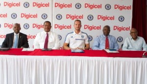 Speakers at the Digicel/Chelsea Academy press conference. From Left to Right: Minister of Family, Youth, Sports and Culture, the Hon. Stephen Lashley, Digicel Barbados Commercial Director, Alex Tasker, Senior International Football Development Manager for the Chelsea Football Club Foundation, David Monk, Barbados Tourism Authority Marketing Executive for Sports, Winston Carter and President of the Barbados Football Association, Randy Harris