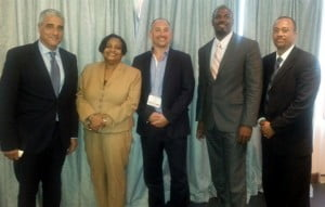 L-R: Ludwig Ounniche, Chef du Cabinet of the Minister of Tourism, St. Maarten, Regina LaBega, Managing Director of SXM Airport, Colm Lacy, Head of BA Commercial Division, Haydn Hughes, Parliamentary Secretary Tourism, Anguilla, and Louis Halley, Head of Civil Aviation, St. Maarten. (SXM Photo)