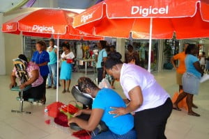 Mall shoppers took full advantage of the opportunity to receive free massage treatments.