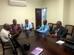 From left to right:  Project Implementation Unit (PIU) Director Owen Lewis, Montserrat's Premier Reuben Meade, Min. of Education and Health Colin Riley, Permanent Secretary of Education Phillip Chambers, and Director of Education Glenn Francis.