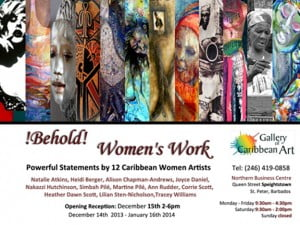 Powerful work by 12 Caribbean women artists on the topic of women... Join them at the Gallery of Caribbean Art!