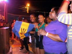 Ladies with Barbados flags