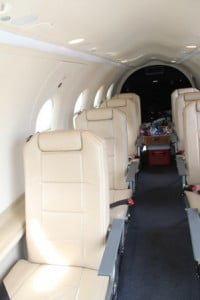 Inside an aircraft from Tradewind Aviation's fleet on the tarmac of the Vance W. Amory International Airport