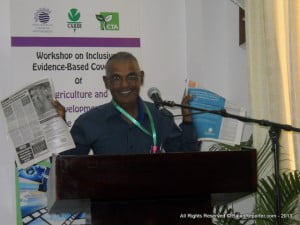 Ramgopaul Roop - Regional Administrator of Caribbean Agribusiness Association, proudly displaying articles he volunteered to the Trinidad Express... The same time BWIA was going under! Which do you think was highlighted more?