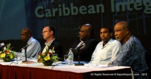 From Right to Left - Sen. Orlando Marville, Dr Tennyson Joseph, Adriel 'Rice Paper Skin' Brathwaite and Dr David Berry with the Moderator completing the tableau...