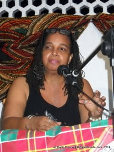 Carol Pitt, publisher of Caribbean Chapters, who fielded some queries from local media at the Barbados launch