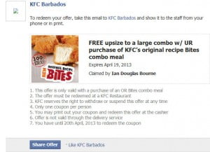 "{CLICK FOR BIGGER} Note the date, I went  to KFC and decided to claim my Reward, had the info saved on my BlackBerry and they said ""NO,"" I would have to Print it... How? Their printer? I have only used KFC if my Family insists, but I ignore it for my part! This is technology at the level of Flintstones or Croods!"
