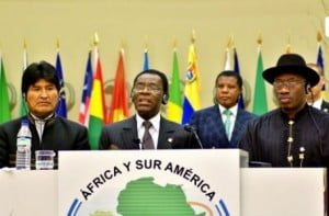 H.E. Obiang, President of Equatorial Guinea, gives remarks during 3rd Africa South America (ASA) Summit in Malabo.