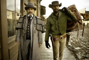 {IMAGE VIA - flickdaily.com} Set in the antebellum era of the Deep South and Old West, the film follows a freed slave (Jamie Foxx) who sets out across the United States with a bounty hunter (Christoph Waltz) on a mission to rescue his wife (Kerry Washington) from a cruel plantation owner (Leonardo DiCaprio). Directed by Quentin Tarantino.