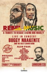 Buggy and friends will be giving a tribute to Bob Marley to celebrate his birth. (CLICK FOR BIGGER)