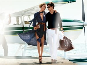 Testino captured Kors' latest collection on models Karmen Pedaru and Simon Nessman en route to a romantic getaway.