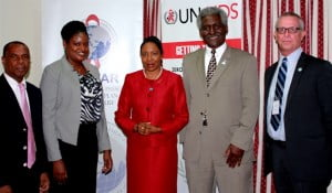 (L to R) Head of the OECS HIV/AIDS Program Unit, Frances Burnett (from left), UNAIDS Investment and Efficiency Adviser, Melissa Sobers, St. Lucia Minister for Health, Wellness, Human Services and Gender Relations, Alvina Reynolds, United States Ambassador to Barbados and the Eastern Caribbean, Ambassador Larry L. Palmer and PEPFAR Coordinator for the Caribbean Region, William Conn.