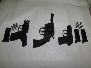 These guns seized by the security forces on January 6, 2014 will be subject to an eTrace. Photo courtesy the Royal Christopher and Nevis Police Force.