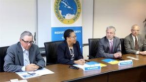 (L to R)  Mr. Mark Mostovac (DFTAD), Dr. Carla Barnett (CDB), Mr. Richard Cabello (IFC) and Mr. Kirk Ifill (IFC).