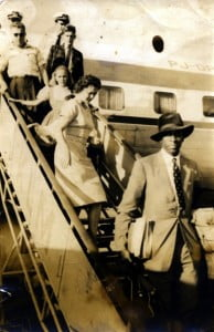 Noted Haitian author Jacques Stephen Alexis (R), arriving in Havana from Moscow (1961), photo from the French edition, Haïti et l'identité littéraire trans-caribéenne.
