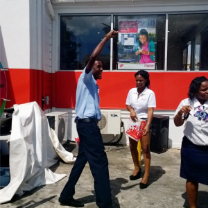 This customer was overjoyed when he walked away with $60 in Digicel credit as the 10th and final spinner on the day.